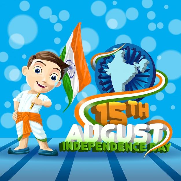 Ragazzo con bandiera indiana Vettore Premium