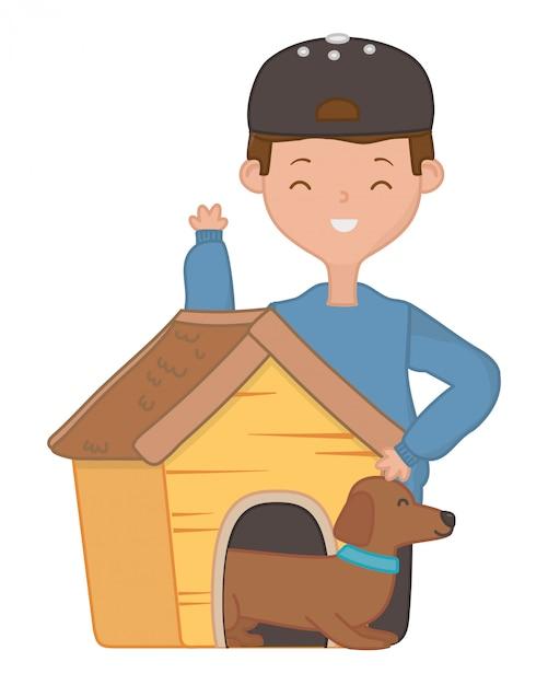 Ragazzo con cane di cartone animato Vettore gratuito