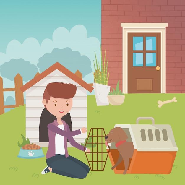 Ragazzo con design di cane cartone animato Vettore gratuito