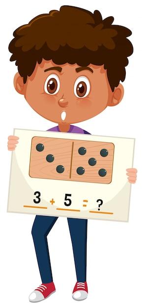 Ragazzo con domande di matematica Vettore Premium