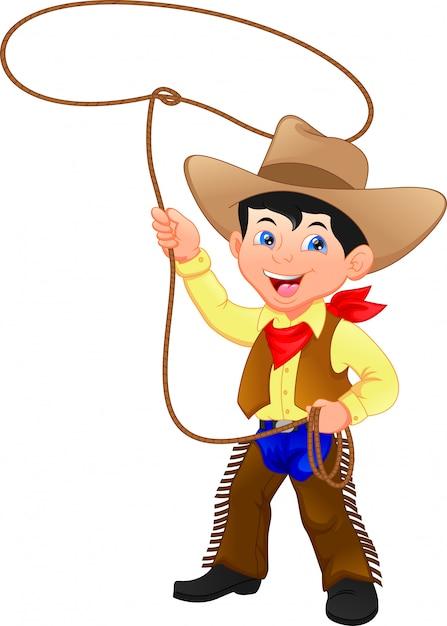 Ragazzo da cowboy che rotea un lazo Vettore Premium