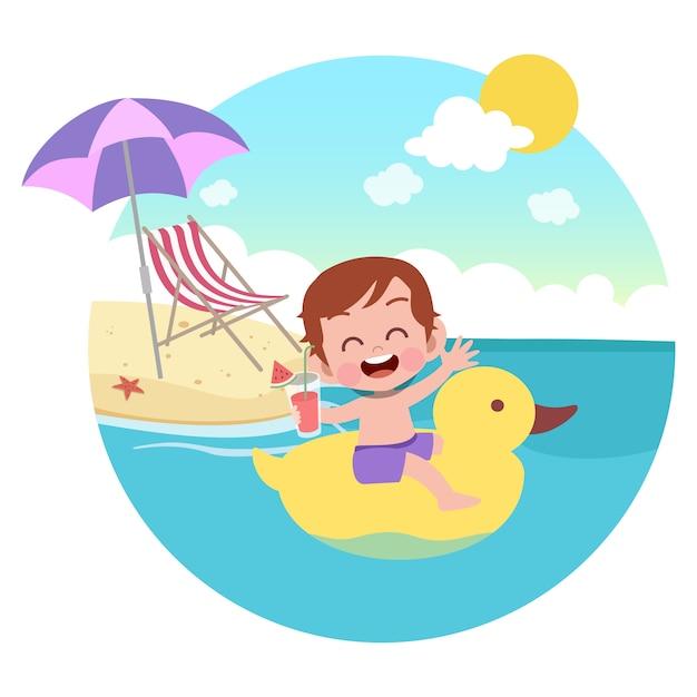 Ragazzo del bambino che gioca sull'illustrazione della spiaggia Vettore Premium