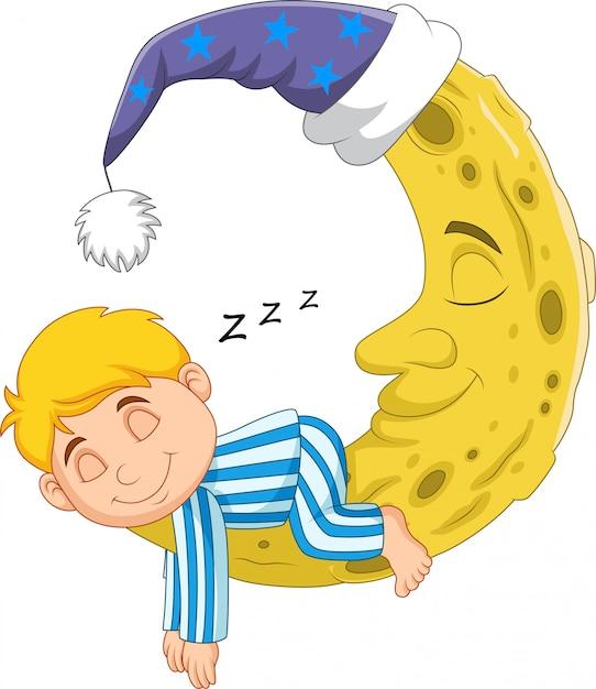 Ragazzo di cartone animato che dorme sulla luna Vettore Premium