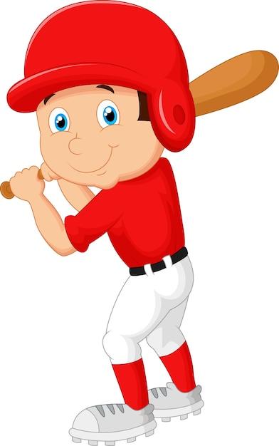 Ragazzo di cartone animato che gioca a baseball Vettore Premium