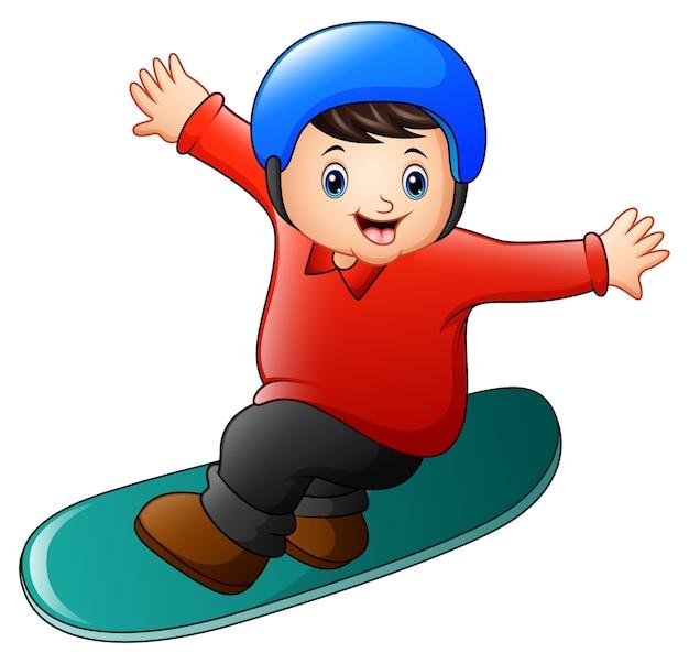 Ragazzo di cartone animato che gioca snowboard scaricare vettori