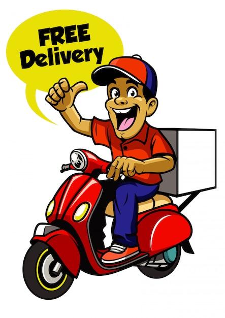 Ragazzo di consegna in sella a scooter Vettore Premium