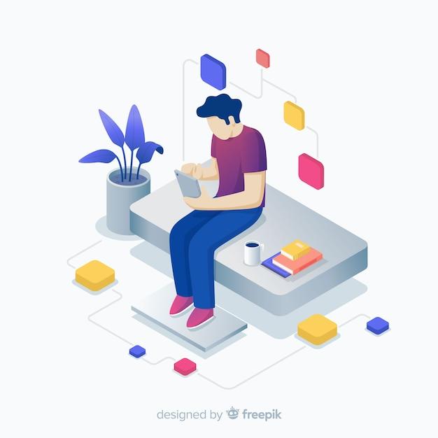 Ragazzo di seduta giovane isometrica utilizzando sfondo di dispositivi tecnologici Vettore gratuito