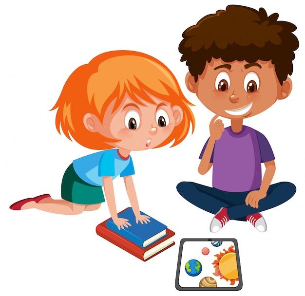 Ragazzo e ragazza che imparano con il tablet Vettore Premium