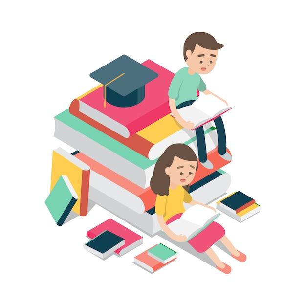 Ragazzo e ragazza che si siedono e che leggono sui libri Vettore Premium