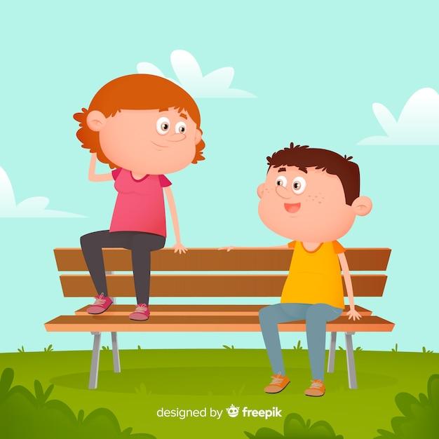 Ragazzo e ragazza che si siedono sul banco illustrato Vettore gratuito