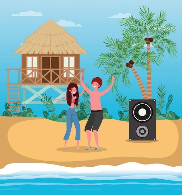 Ragazzo e ragazza con costumi da bagno che ballano sulla spiaggia Vettore Premium
