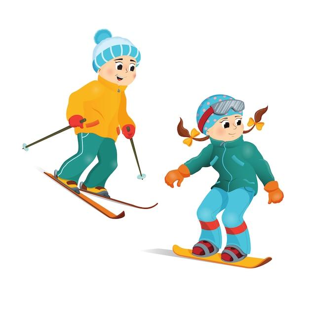 Ragazzo e ragazza divertenti felici che sciano in discesa, sport invernali Vettore Premium