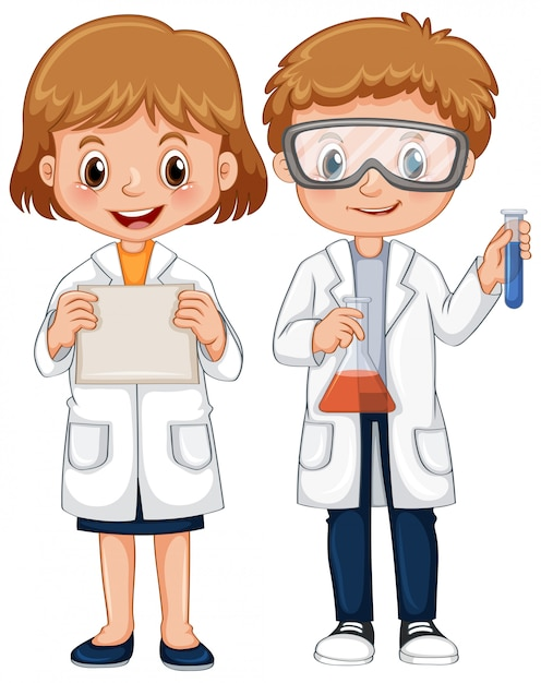 Ragazzo e ragazza in abito scientifico Vettore gratuito