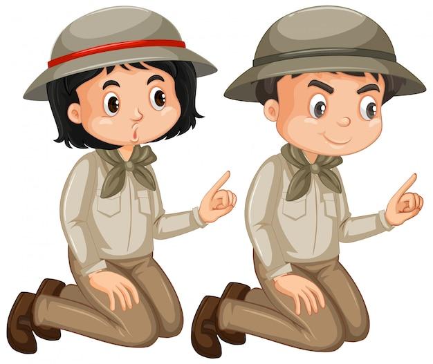 Ragazzo e ragazza in attrezzatura di safari isolata Vettore gratuito