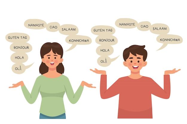 Ragazzo e ragazza parlando con poliglotta, espressioni con parole bolla Vettore Premium