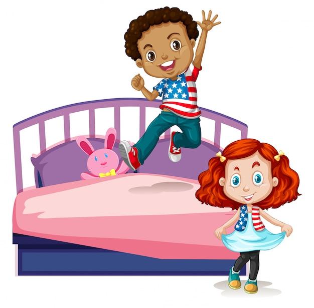Ragazzo e ragazza saltando sul letto Vettore Premium