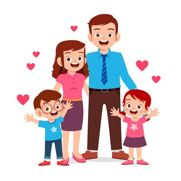 Ragazzo e ragazza svegli felici del bambino con la mamma e il papà Vettore Premium