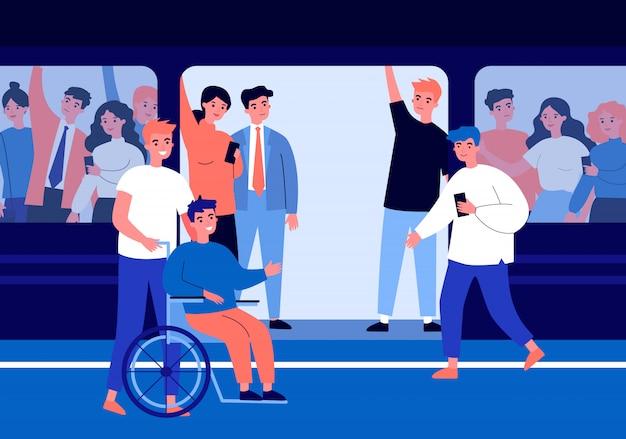 Ragazzo handicappato e il suo aiutante che viaggiano in metropolitana Vettore Premium