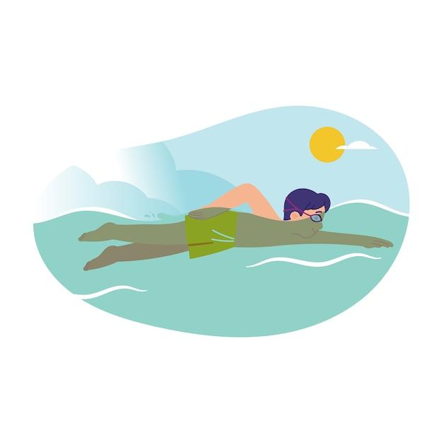 Ragazzo in costume da bagno sta nuotando in piscina o in mare in una giornata di sole Vettore Premium