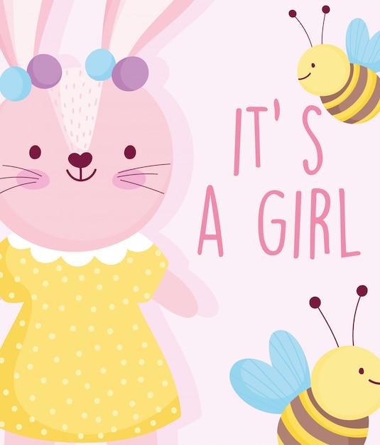 Ragazzo o ragazza, genere rivelano coniglio carino con carta api vestito punteggiato Vettore Premium