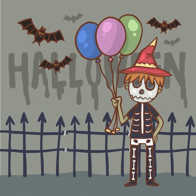 Ragazzo personaggio dei cartoni animati in costume di halloween