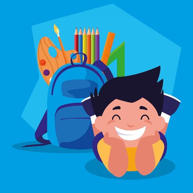 Ragazzo studente con materiale scolastico, ritorno a scuola Vettore Premium