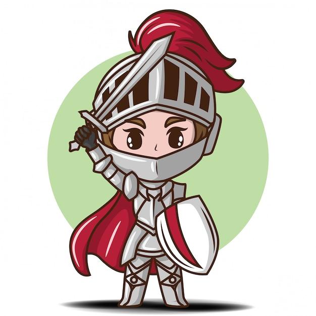 Ragazzo sveglio nel fumetto del costume del cavaliere Vettore Premium
