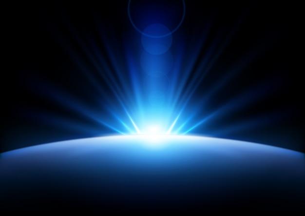 Raggi blu in aumento sfondo Vettore Premium