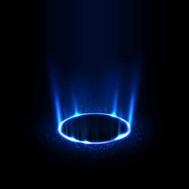 Raggi blu rotanti con scintillii Vettore Premium