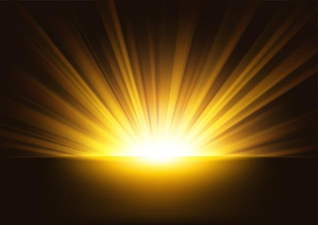 Raggi dorati in aumento su sfondo scuro Vettore Premium