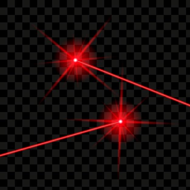 Raggi laser isolati. laser rosso incandescente di vettore. Vettore Premium