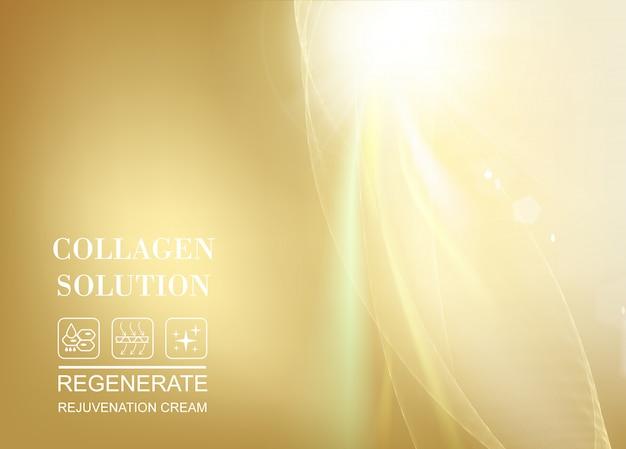 Raggio di sole che splende nella parte superiore dell'immagine su gradiente dorato Vettore Premium