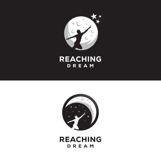 Raggiungendo il logo dei sogni notte logo dei sogni Vettore Premium
