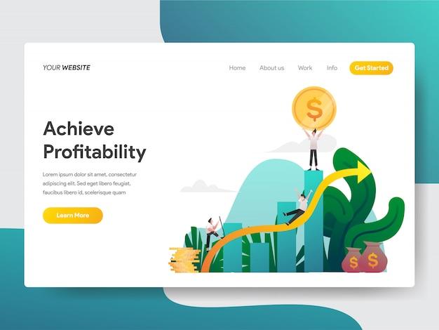 Raggiungere la redditività per la pagina del sito web Vettore Premium