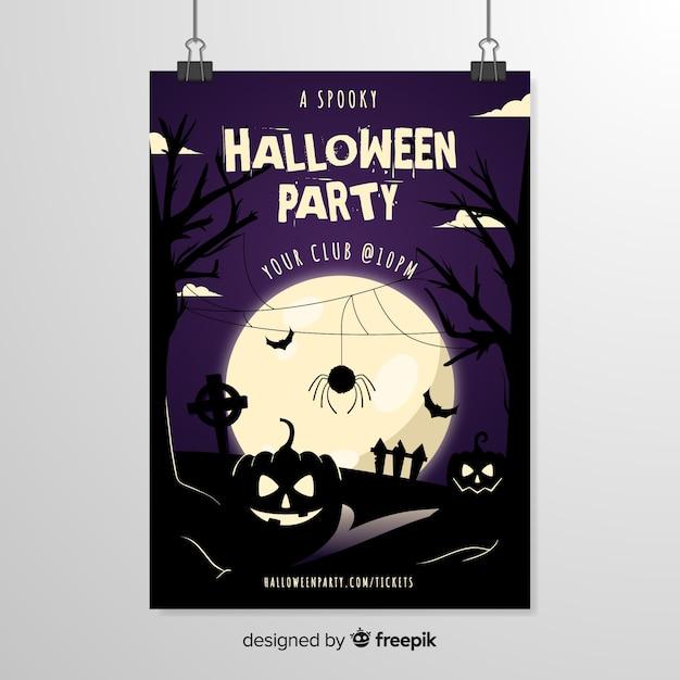 Ragno di fronte a un modello di poster di halloween luna piena Vettore gratuito