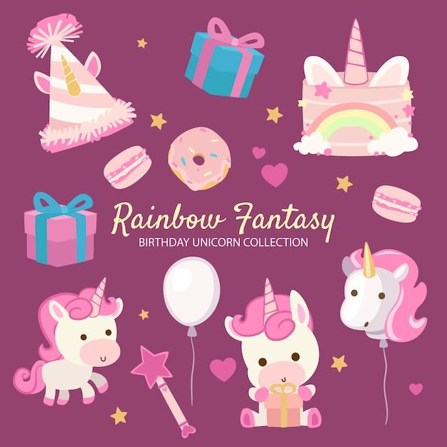 Rainbow fantasy birthday unicorn Vettore Premium