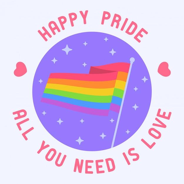 Rainbow flag lgbt pride icon Vettore Premium