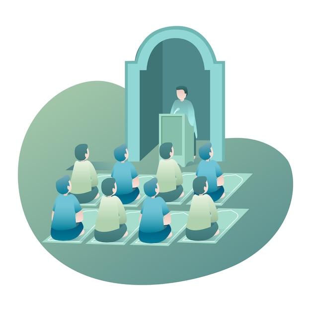 Ramadan illustration with peoples si siede ed ascoltando il conferenziere che parla all'interno della moschea Vettore Premium