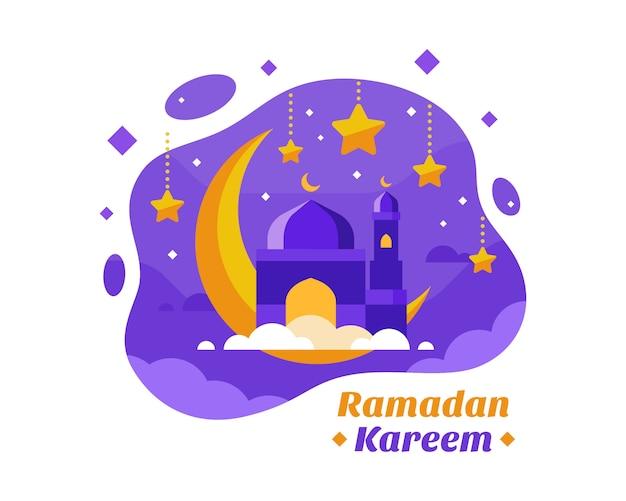 Ramadan kareem background con mezzaluna e moschea illustrazione Vettore Premium