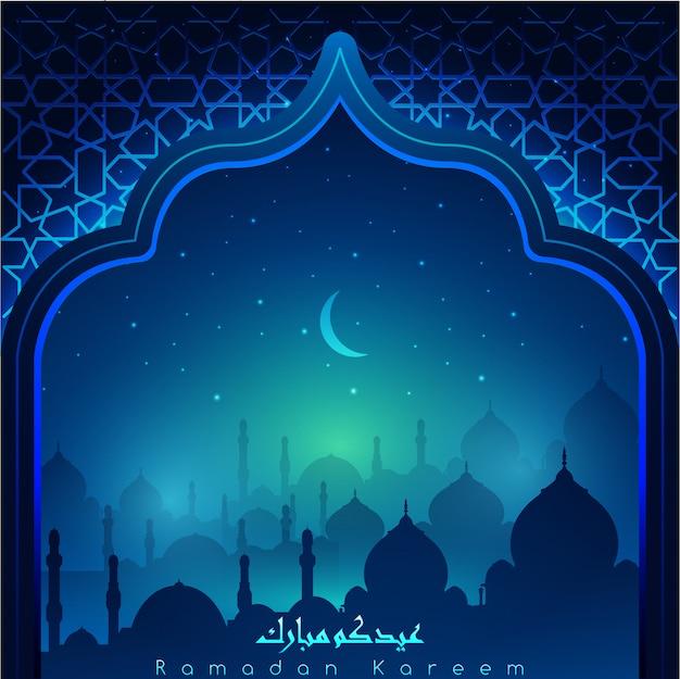 Ramadan kareem con calligrafia araba e moschee di notte accompagnato da scintillii di stelle e luna Vettore Premium