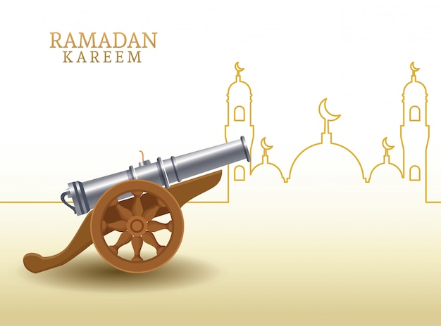 Ramadan kareem con forma di canone e moschea Vettore Premium