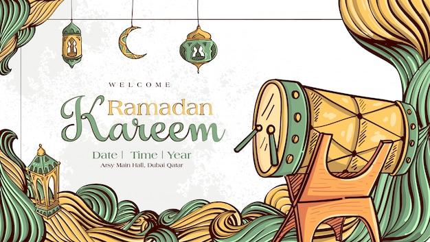 Ramadan kareem con l'ornamento islamico disegnato a mano dell'illustrazione sul fondo bianco di lerciume Vettore gratuito