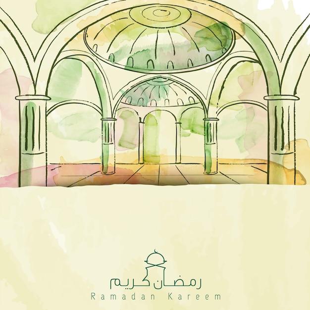 Ramadan kareem di saluto islamico della moschea della spazzola dell'acquerello di vettore Vettore Premium