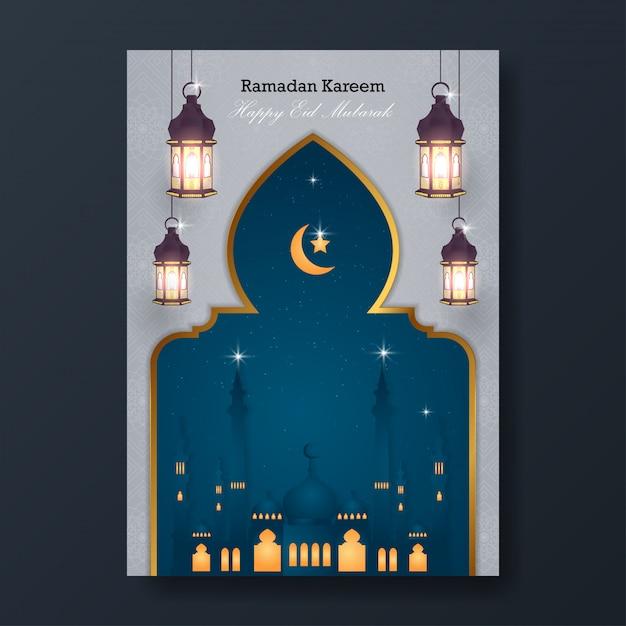 Ramadan kareem e happy eid mubarak flyer Vettore Premium