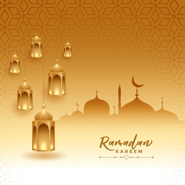 Ramadan kareem festival card con moschea e lampade Vettore gratuito