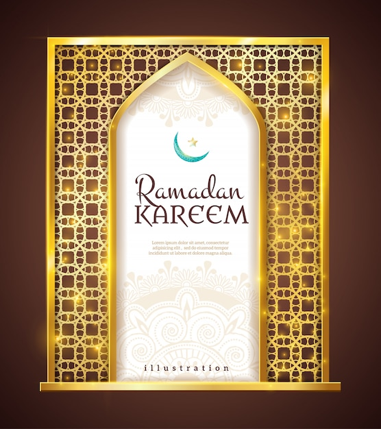 Ramadan kareem golden frame traditional ornament Vettore gratuito