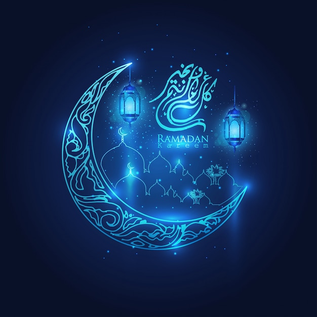 Ramadan kareem incandescente lanterne arabe, luna e stelle mezzaluna islamica Vettore Premium