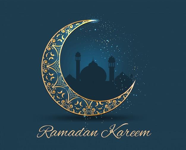 Ramadan kareem ornato d'oro Vettore Premium