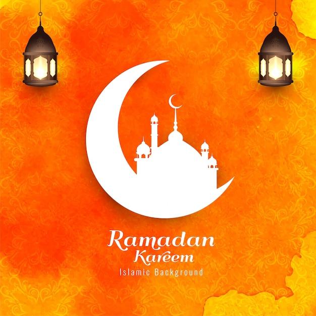 Ramadan kareem, sagome islamiche religiose con sfondo arancione Vettore gratuito