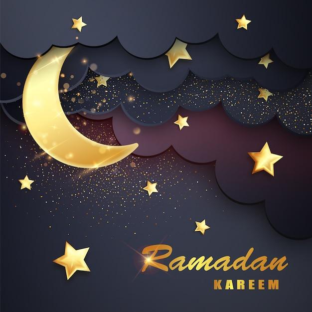 Ramadan kareem sfondo con la luna, le stelle. Vettore Premium
